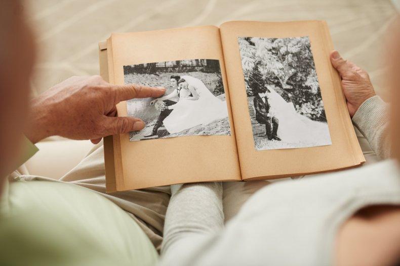 senior couple at their wedding photos