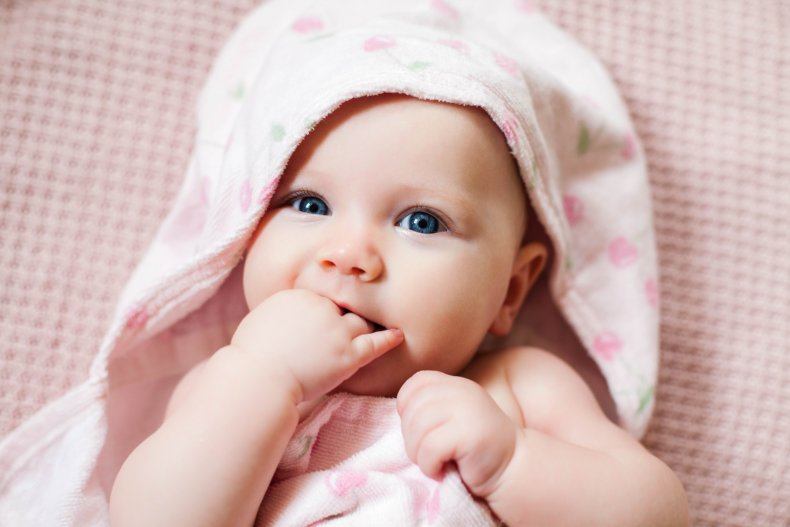 Stock image of a two-month-old girl