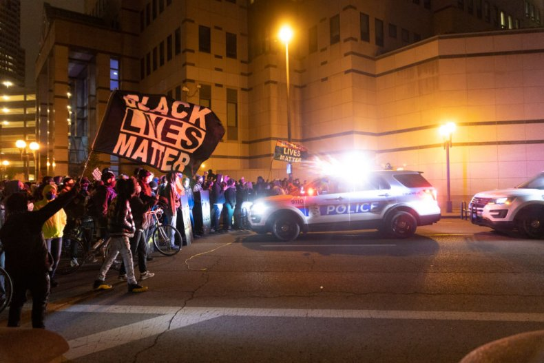 Protesters and Police in Columbus, Ohio