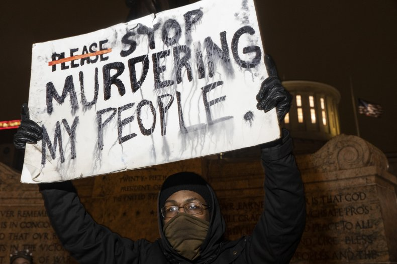 Protesters demonstrated in Ohio following the shooting