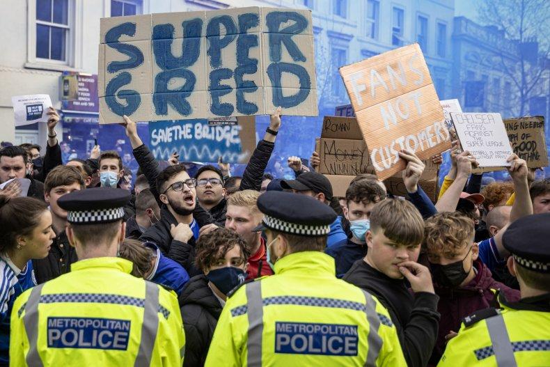 chelsea fans at super league protest