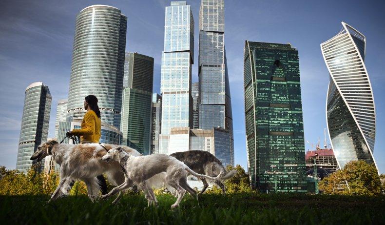 moscow, russia, skyline, walking