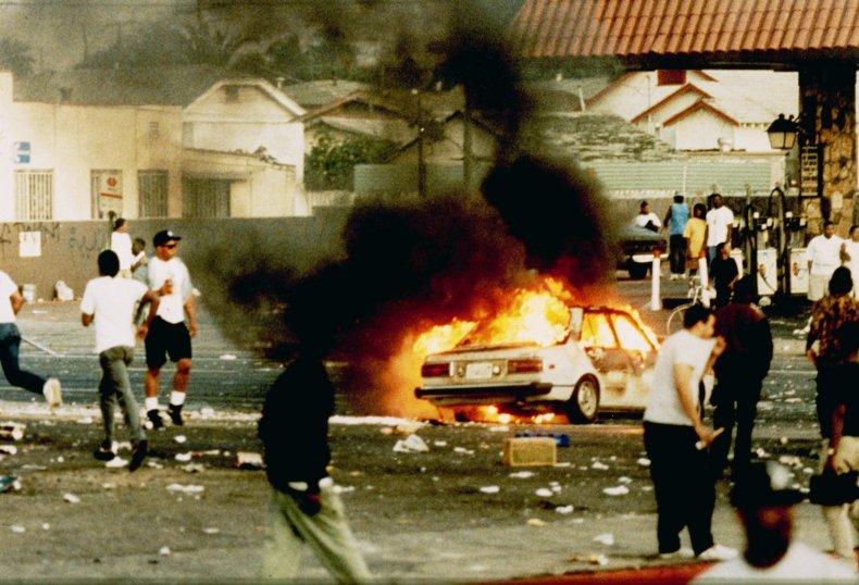 Rodney King burning car