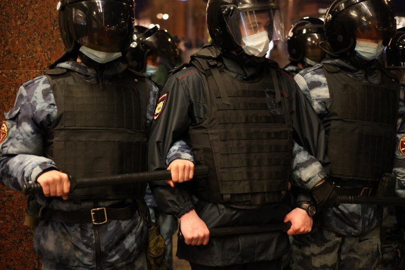 Russian police in Moscow at Navalny protest