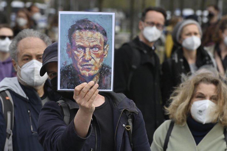 Alexei NAvalny protest in Berlin Germany Putin