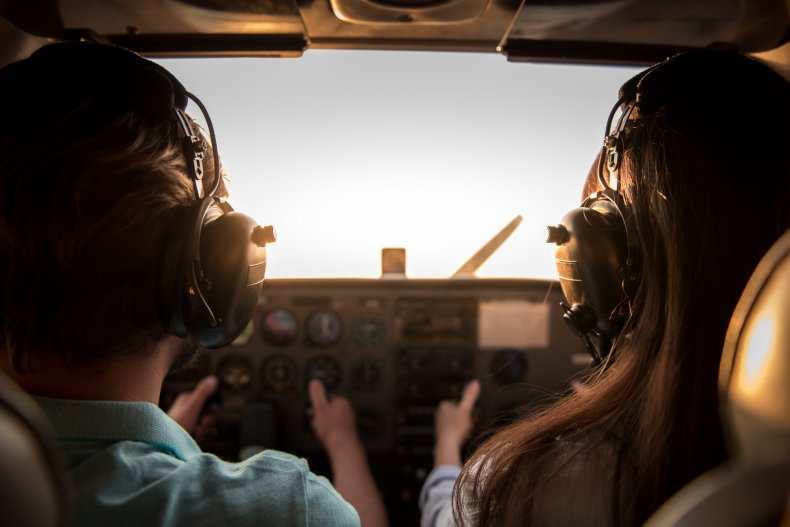 Image of a couple flying a plane