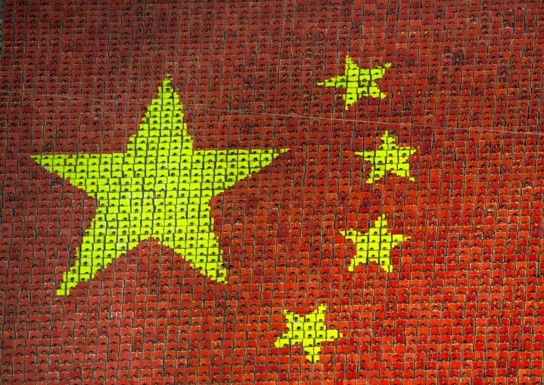 Chinese Children Create Flag of China