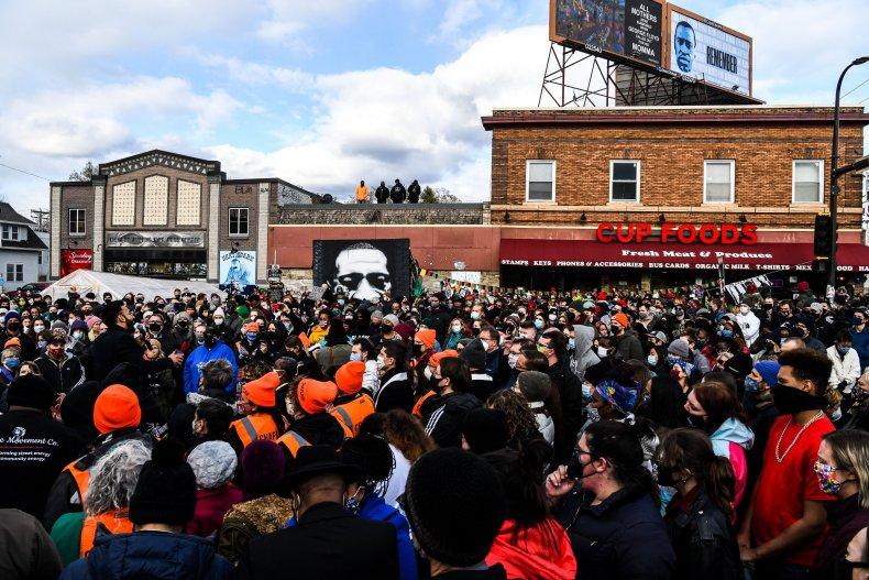 People celebrate in George Floyd Square