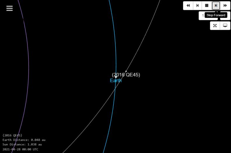 2016 QE45 orbit diagram