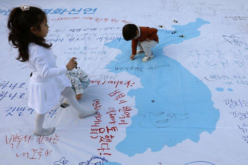 north, south, korea, summit, map, drawing