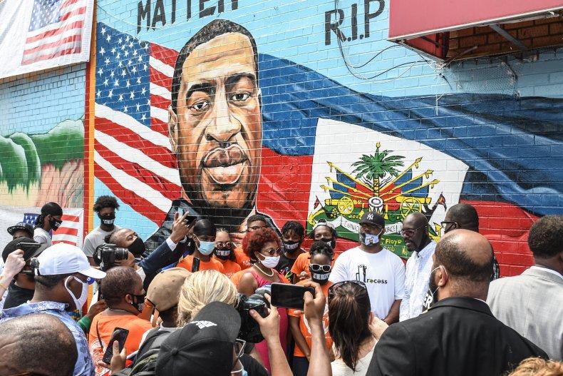 A Mural of George Floyd in Brooklyn