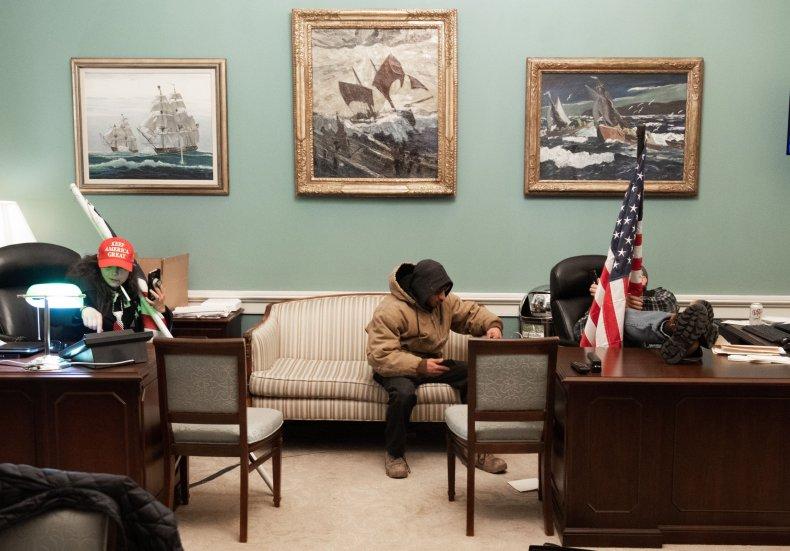 Capitol rioters in Nancy Pelosi's office
