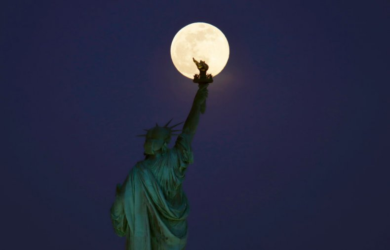 pink moon statue of liberty new york