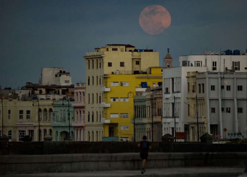 Pink moon rises over Havana, Cuba