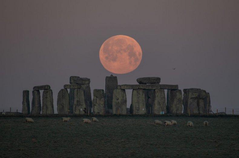 Pink moon over Stonehenge