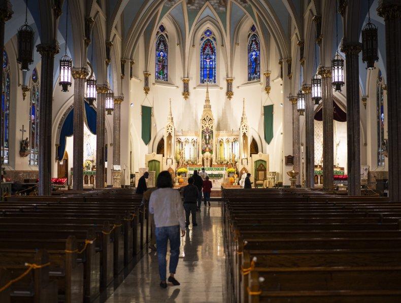 Parishioners in a New York Catholic Church