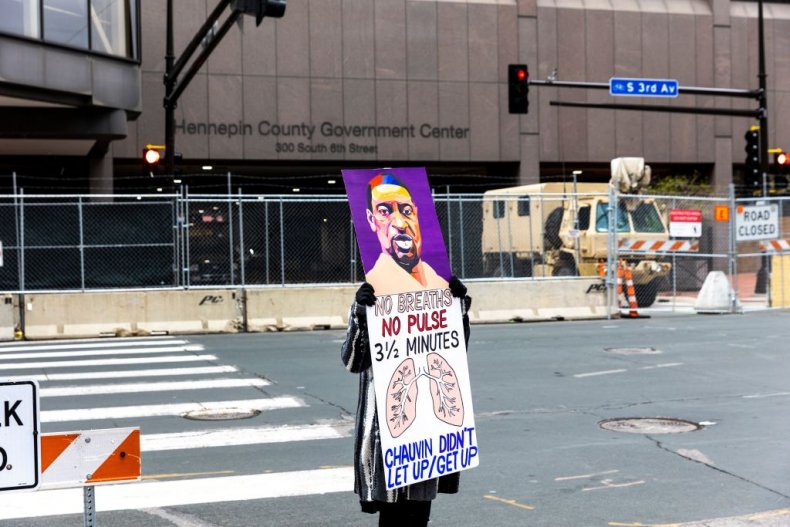 George Floyd protester at Hennepin County Center