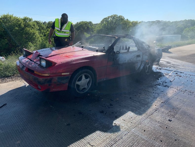 Car fire on the 114 in Texas