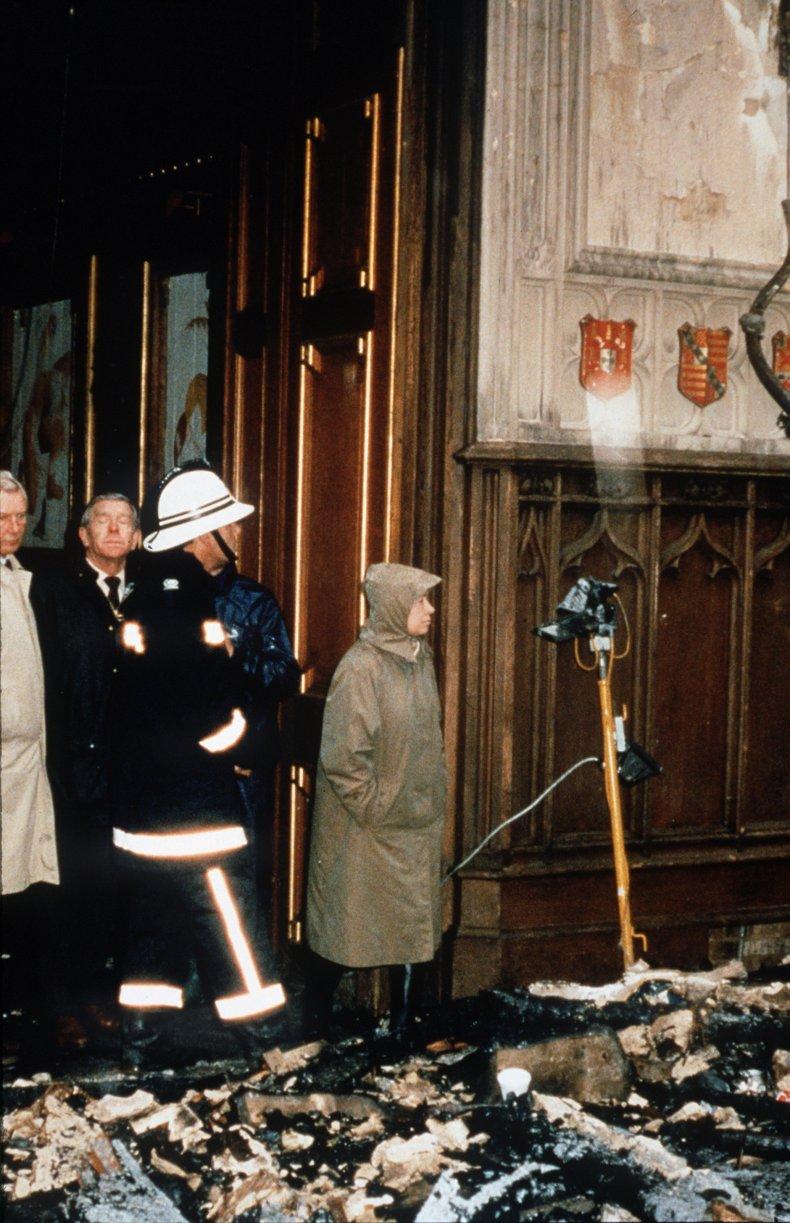 Queen Elizabeth II Inspects Windsor Castle Fire