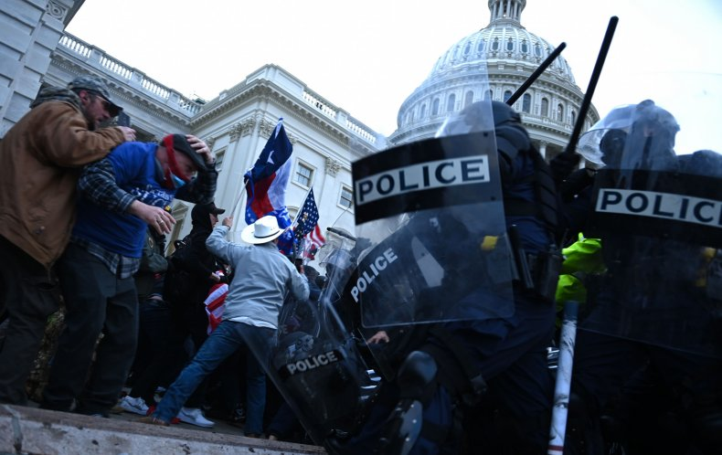 US Capitol insurrection police protesters clash