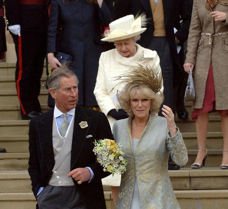 Queen at Prince Charles, Camilla Wedding