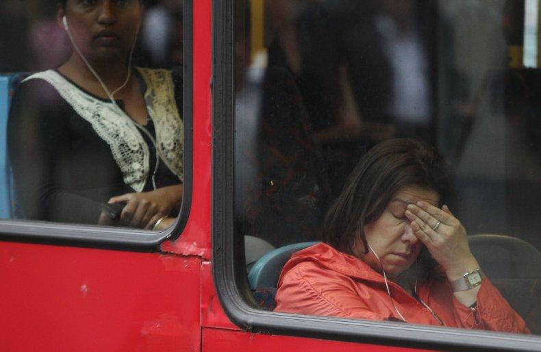 woman sad bus pandemic