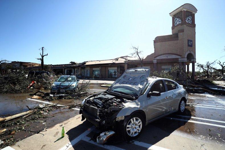 A car damaged by a tornado 2019