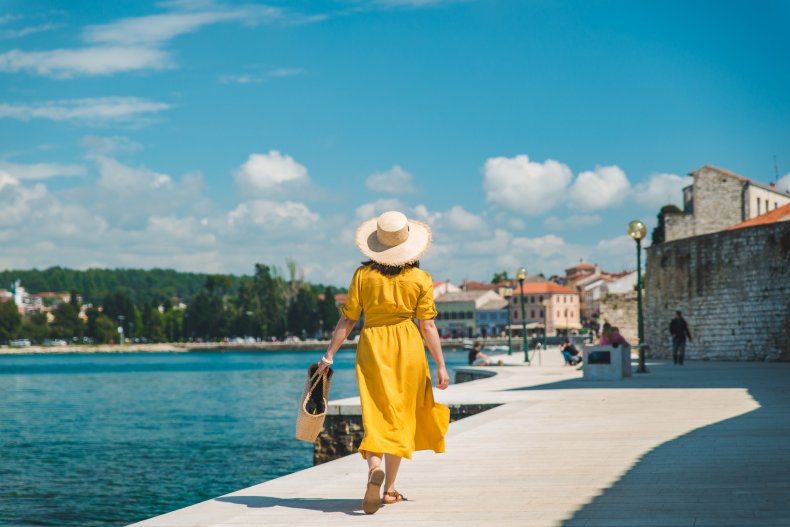 sundress woman walking