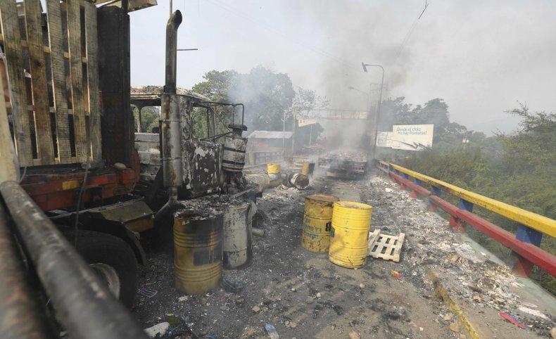 Damaged Trucks Carrying Venezuela Aid