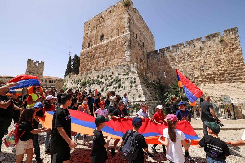 israel, jerusalem, march, armenia, genocide, flags