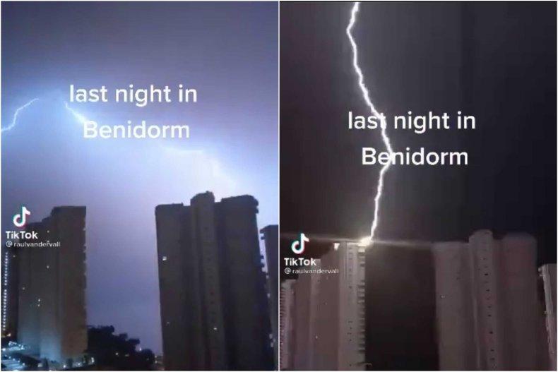 TikTok lightning strikes building before fire