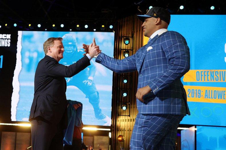 Rashawn Slater and NFL Commissioner Roger Goodell