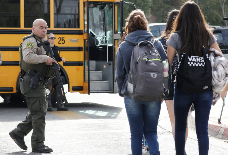 armed police after California school mass shooting