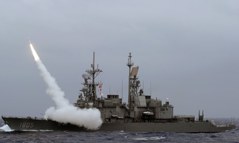 Taiwan Navy Warship Conducts Missile Test