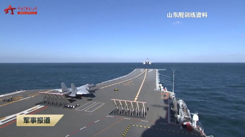 Chinese Carrier Shandong Conducts Exercises At Sea