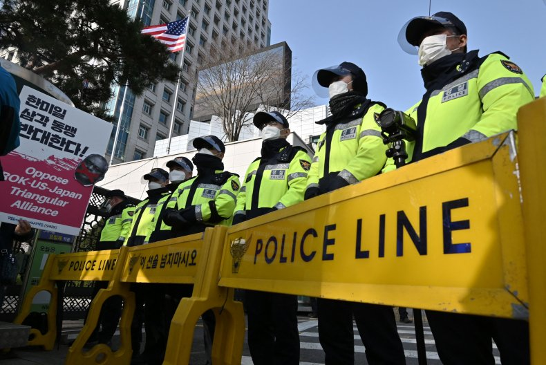 Police officers in Seoul March 2021