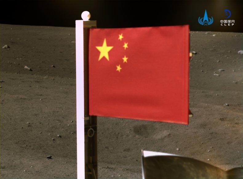 china, flag, moon, probe, landing