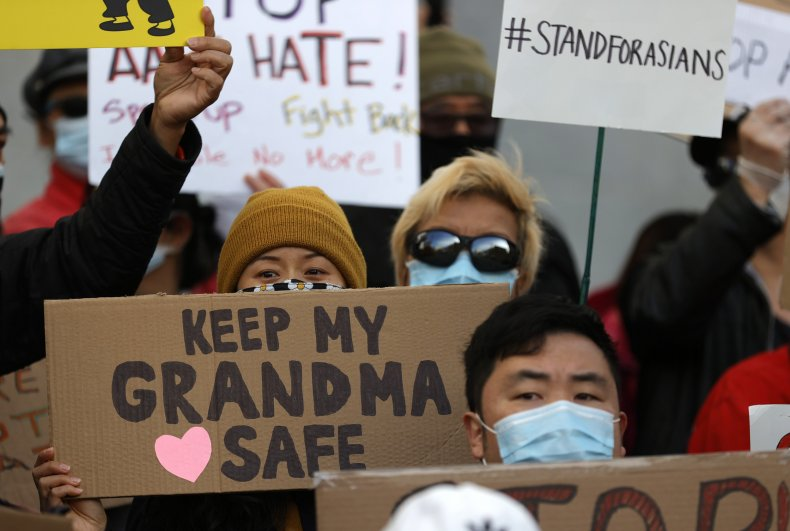 People hold rally against Asian hate crimes