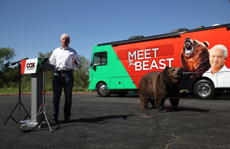 John Cox brought a bear on campaign