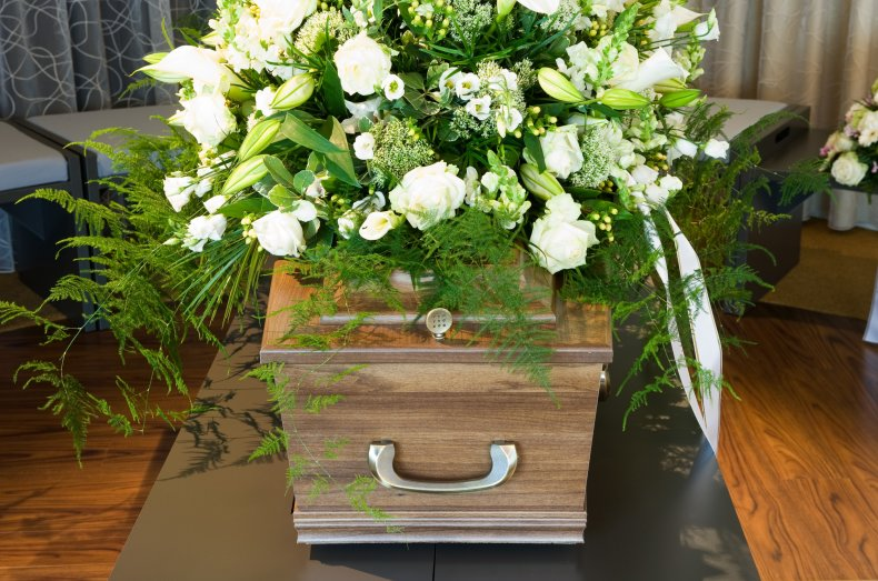 Stock image of a coffin