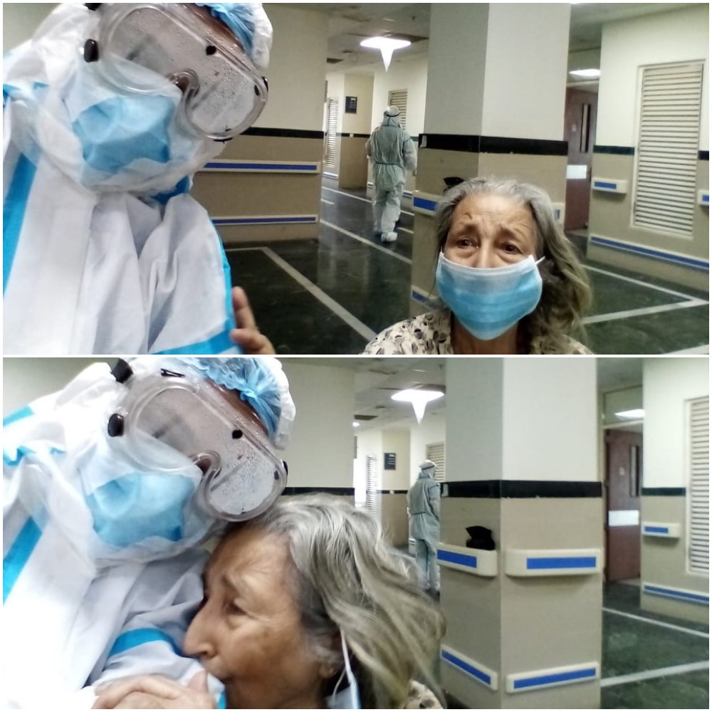 Moving Photo Shows Elderly Indian Woman Hugging Doctor After Beating COVID