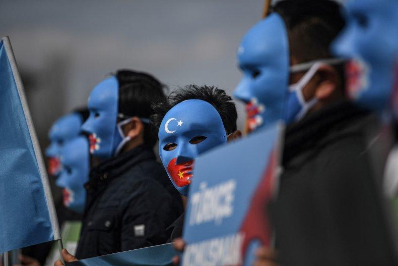 china, east, turkestan, protest, masks