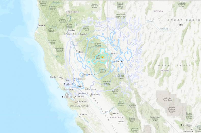 USGS Map of Truckee Earthquake