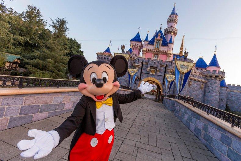 Mickey Mouse poses at Disneyland