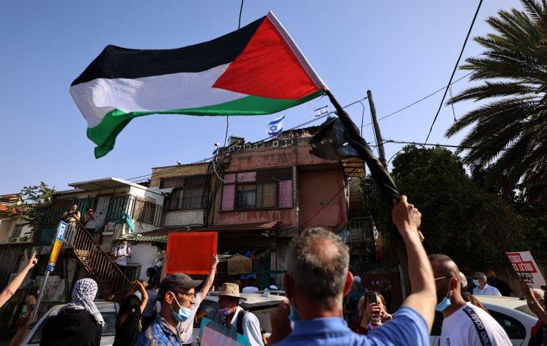 Activists protest in Sheikh Jarrah, East Jerusalem