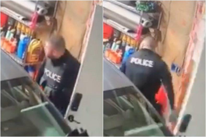 Cop intentionally hits suspect's car with door