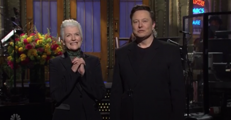 Elon Musk and mother on SNL stage
