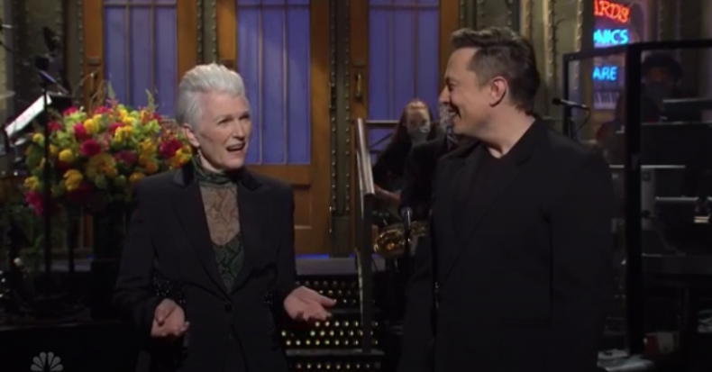Elon Musk shares SNL stage with mother