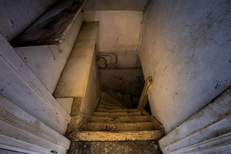 Stock image of basement stairs