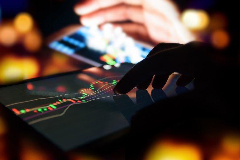Stock market on phone screen